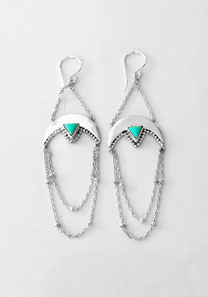 Half moon sterling silver turquoise Earrings with sterling silver bead and chain detail by Lakiki Jewellery