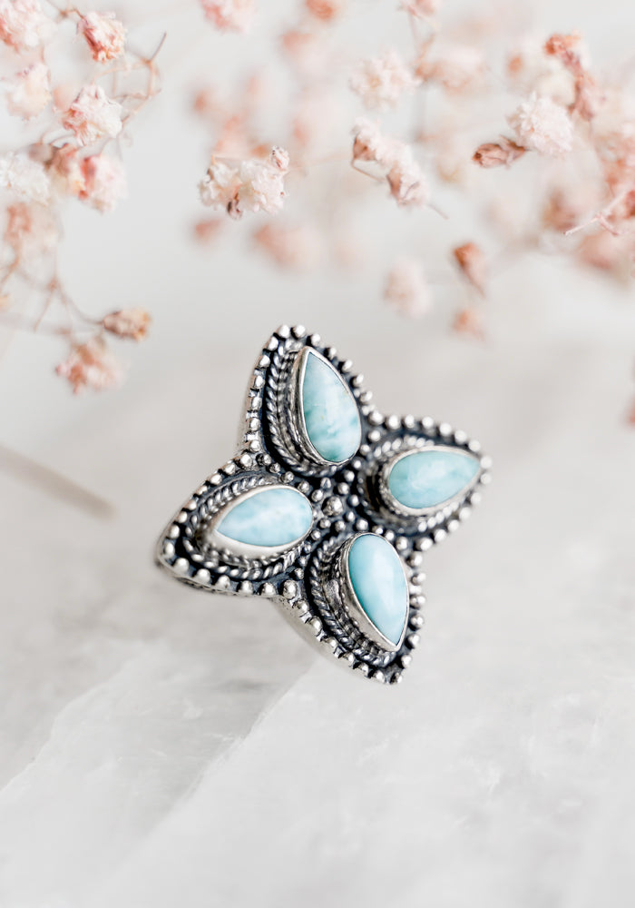 The Dakota Larimar Ring Statement Piece by Lakiki Jewellery