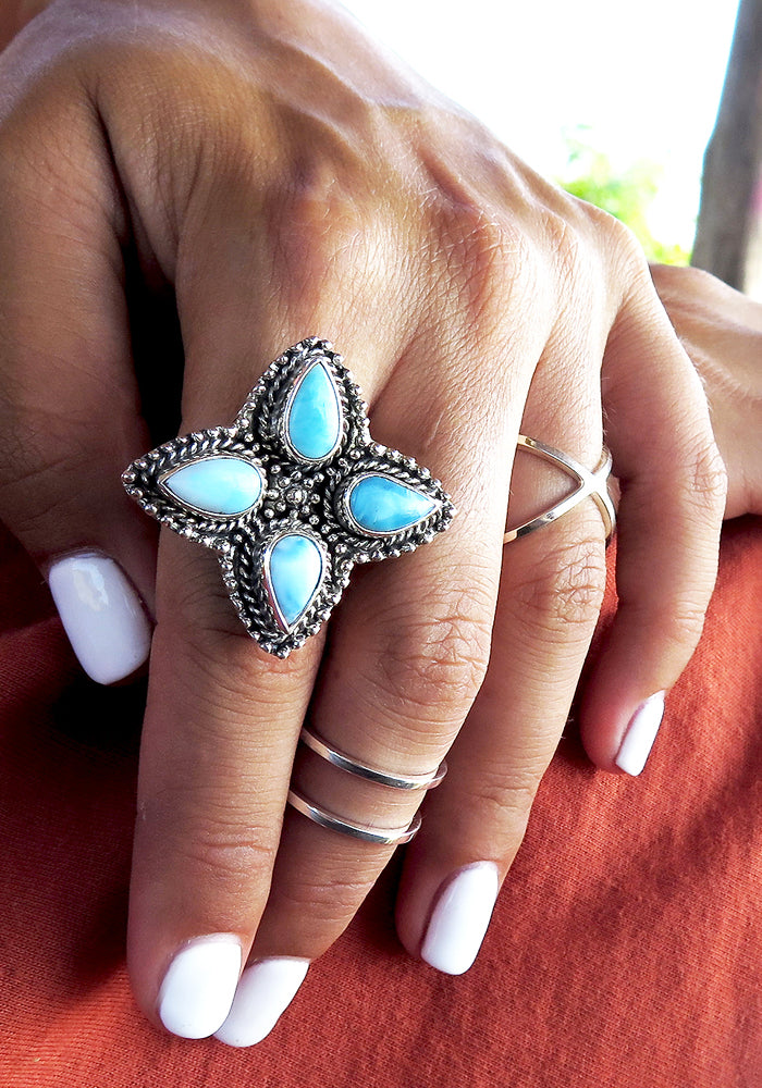 The Signature Lakiki Jewellery Dakota Larimar Ring with detailed 925 sterling silver