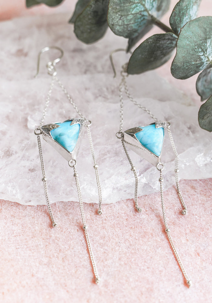 Eliya Leaf Larimar Earrings with sterling silver bead details by Lakiki Jewellery