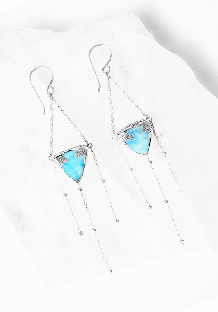 Eliya Leaf Larimar Earrings with 925 Sterling Silver feather detail by Lakiki Jewellery