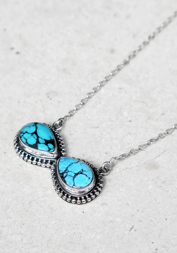 Genuine Turquoise Necklace with 925 Sterling silver detail by lakiki Jewellery
