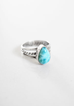 Featuring a teardrop Larimar Stone the Kaia Ring by Lakiki Jewellery
