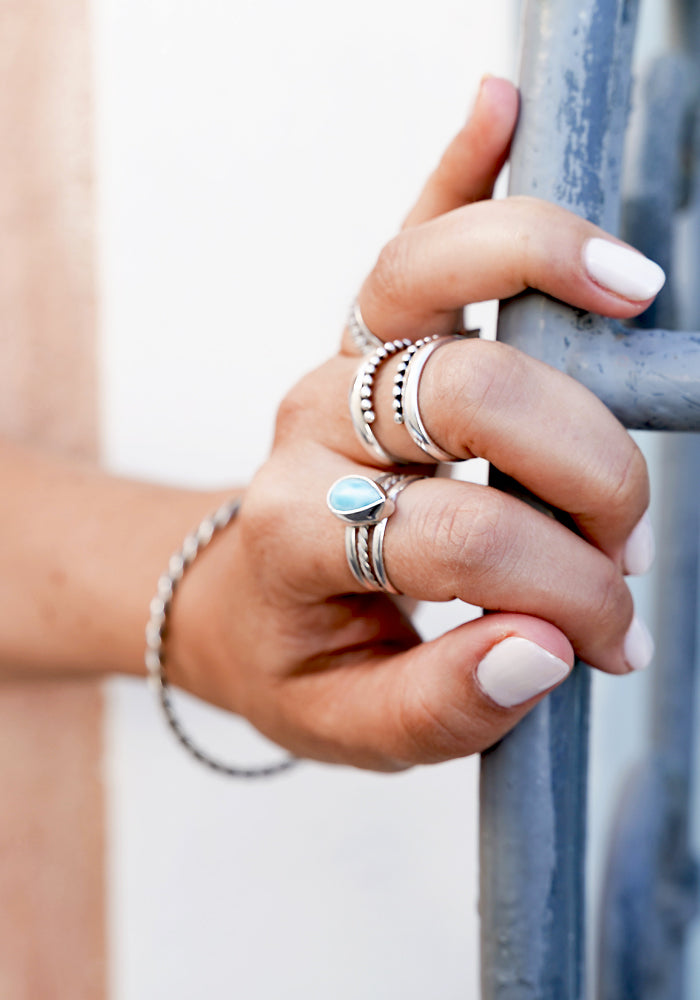 Kaia Larimar Ring with 925 Sterling Silver detail by Lakiki Jewellery