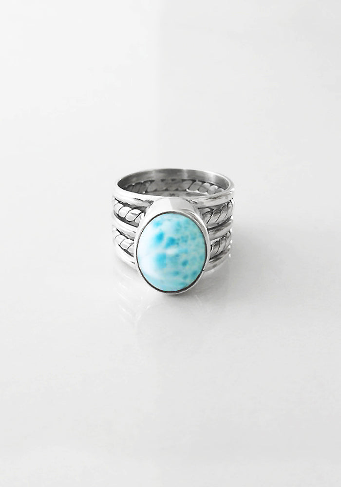 Liana Oval Larimar Stone Ring by Lakiki Jewellery