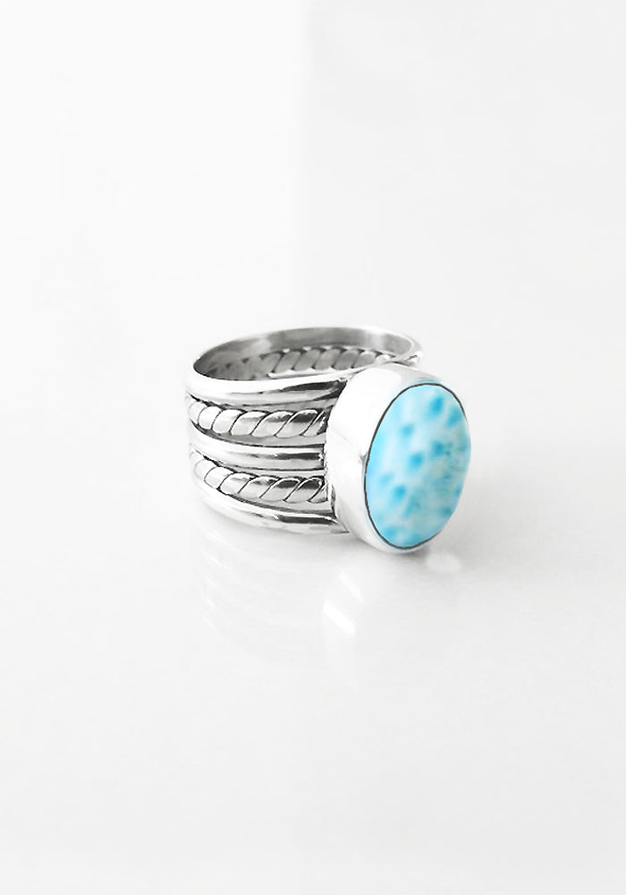Oval Larimar Stone Liana Ring by Lakiki Jewellery