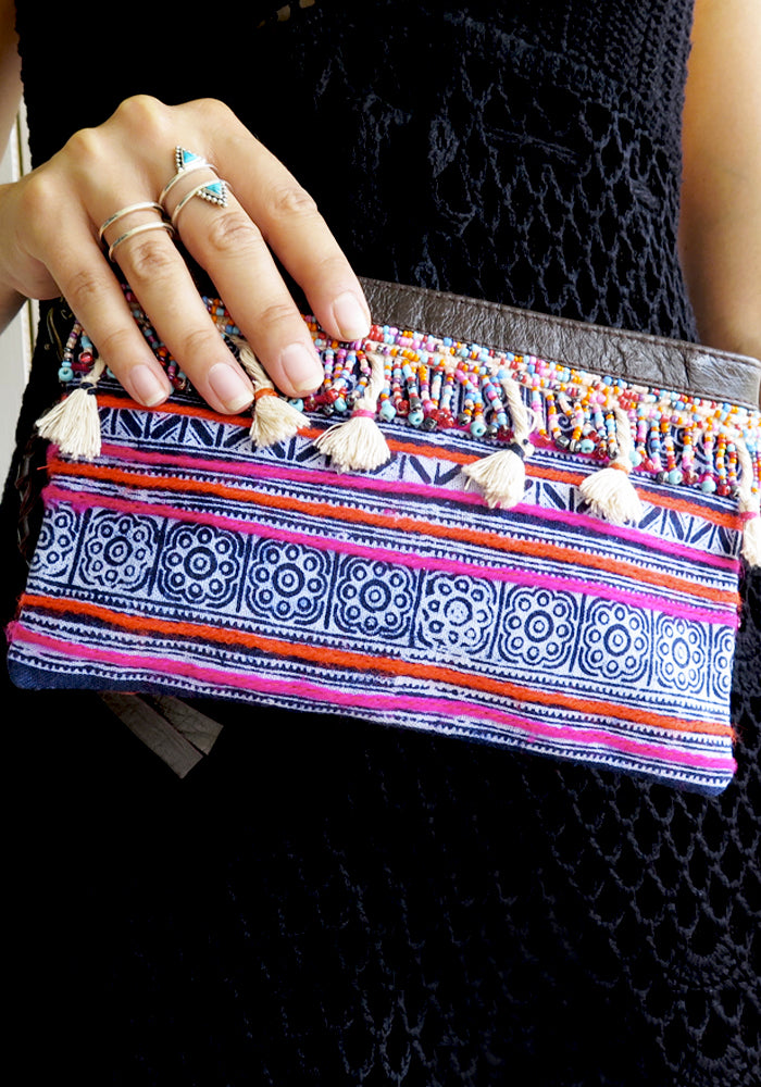 Kasai Boho Leather Clutch Wallet featured on Lakiki Jewellery