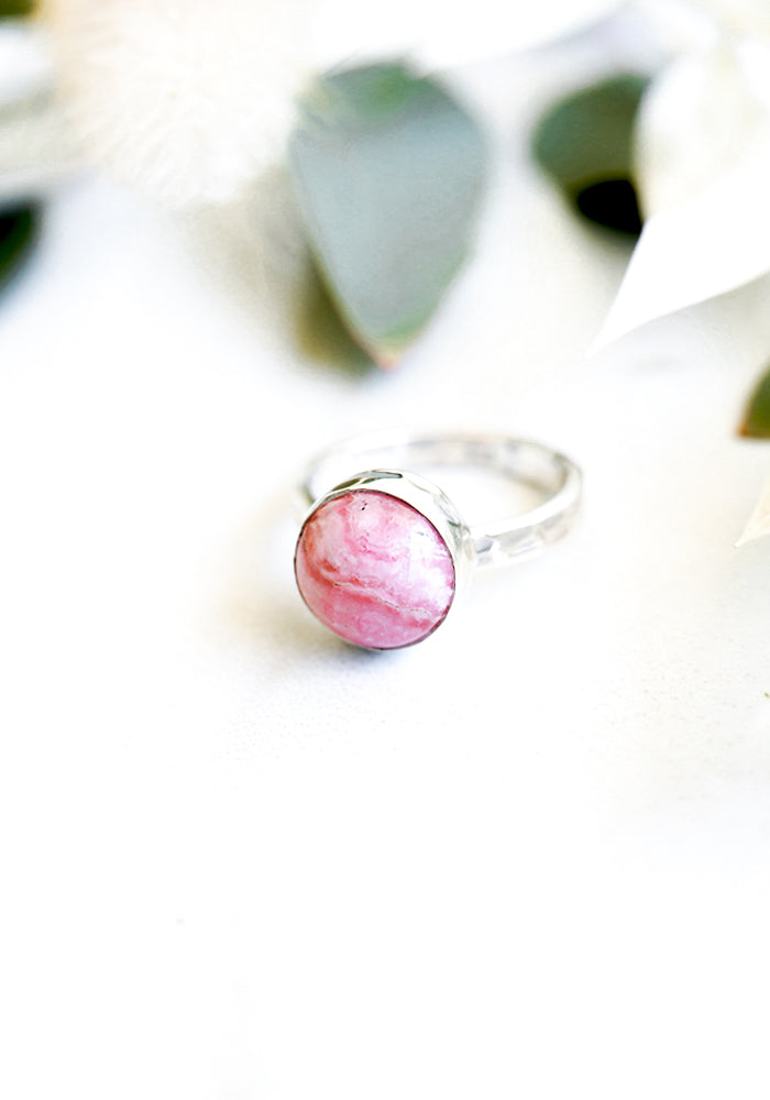 Mykonos Travel Rhodochrosite Ring with Sterling Silver Band by Lakiki Jewellery