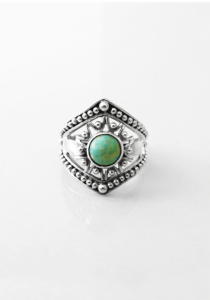 Ophelia Turquoise Ring with intricate 925 Sterling silver detail by Lakiki Jewellery