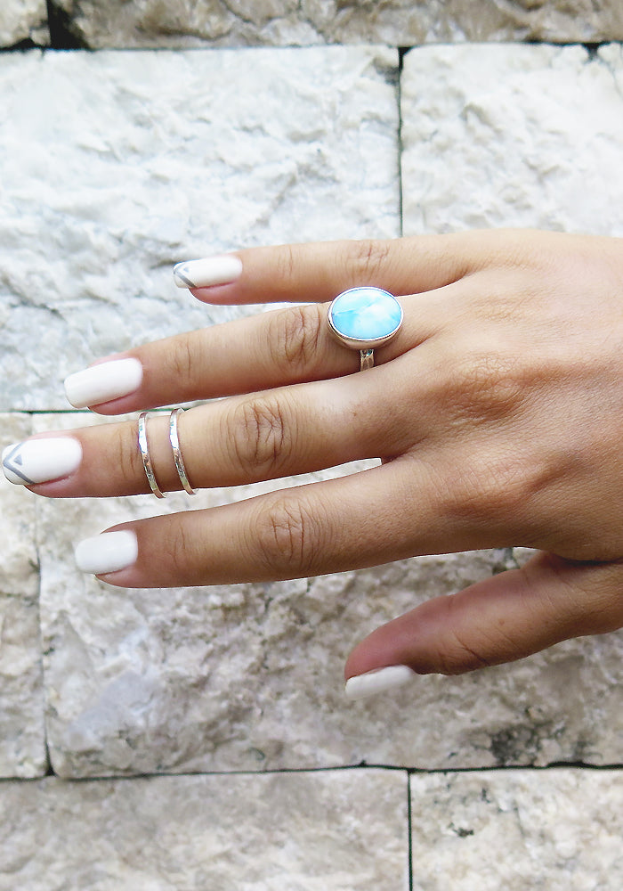 Round Larimar Ring with 925 sterling silver band by Lakiki Jewellery