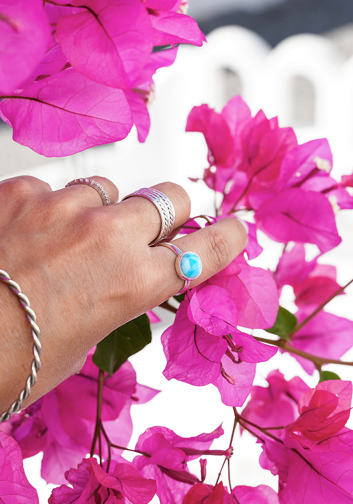 Santorini Travel Larimar Ring with hammered 925 sterling silver detail by Lakiki Jewellery