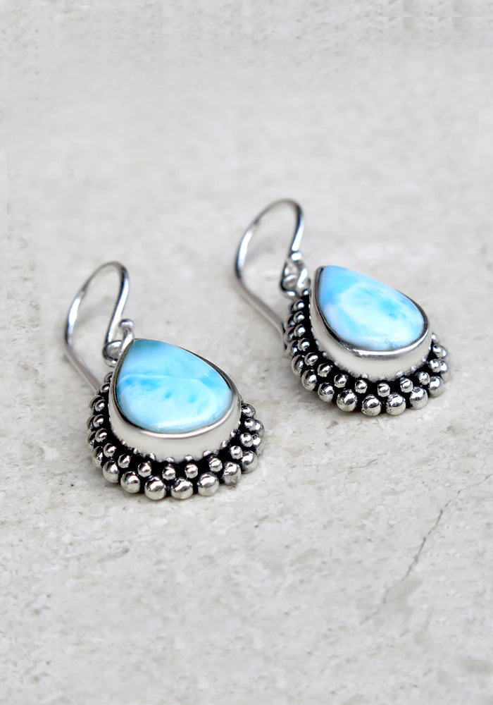 Sophia Drop Larimar Earrings with sterling silver detail by Lakiki Jewellery