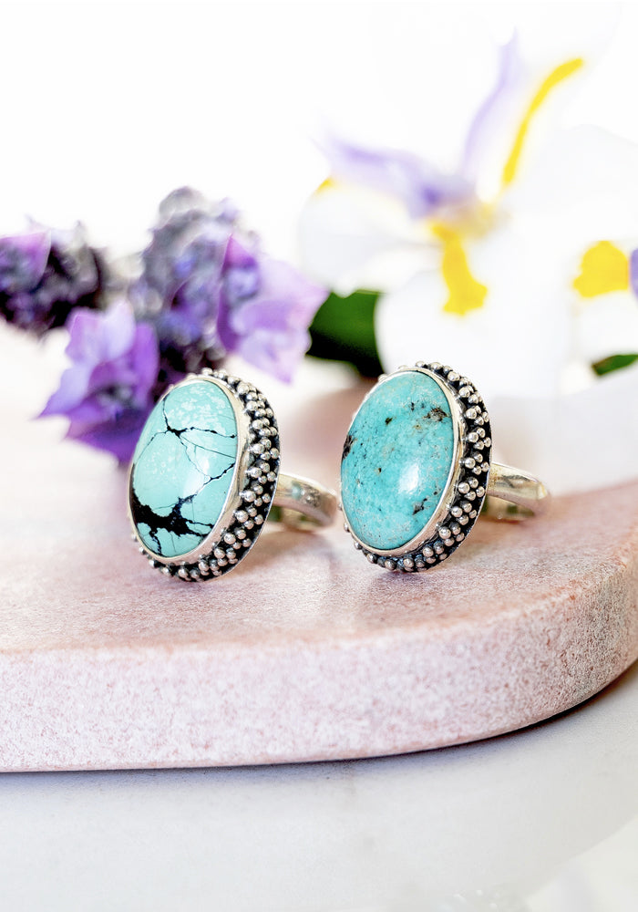 Trinity Oval Turquoise Ring with 925 Sterling Silver detail by Lakiki Jewellery