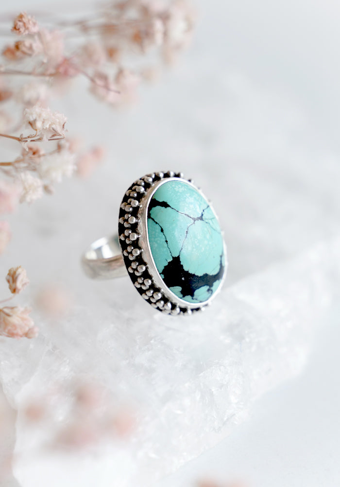 Turquoise Trinity Ring with Sterling silver detail by Lakiki Jewellery