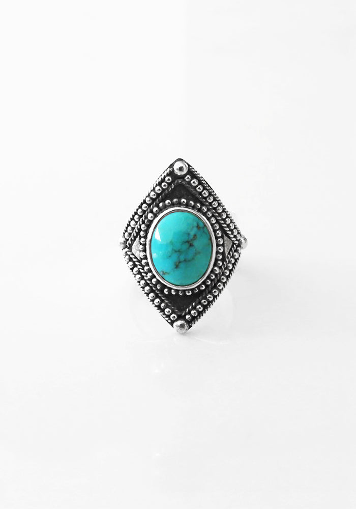 Valencia Turquoise Ring with Oval Shaped stone and 925 sterling silver detail by Lakiki Jewellery