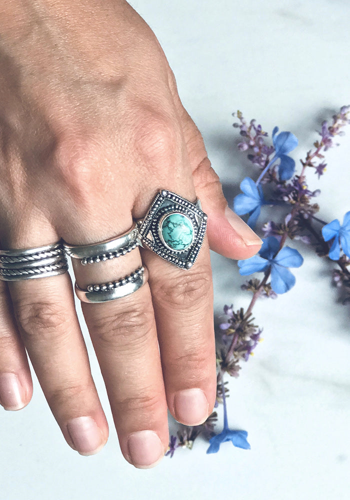 Oval shaped Turquoise Ring with beautiful 925 sterling silver detail by Lakiki Jewellery