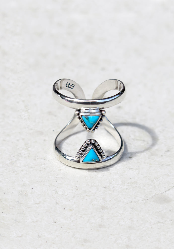 Double band sterling silver ring with two triangle turquoise stones facing each other by Lakiki Jewellery