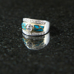 DeAcoma Solitiare Ring with Diamonds and Turquoise