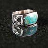 Eagle Rectangle Turquoise Ring