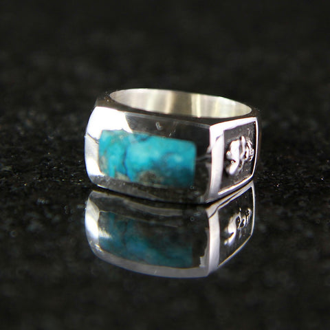 Skull Rectangle Turquoise Ring