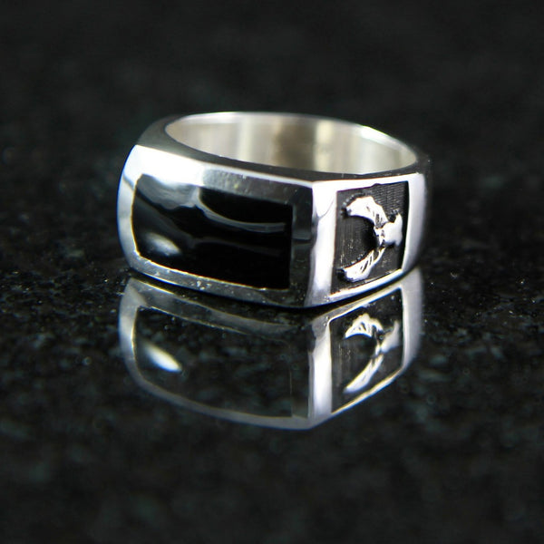 Eagle Rectangle Onyx Ring