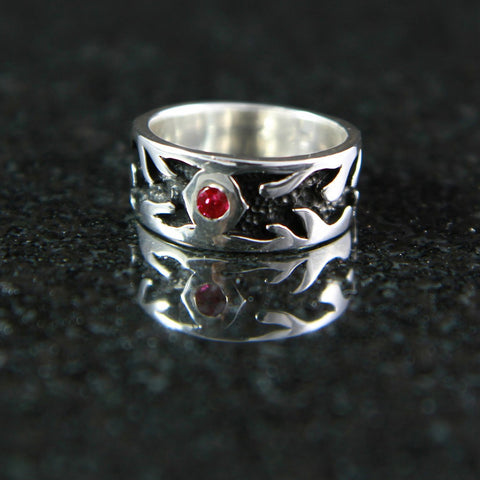Flame Ring with Gemstone