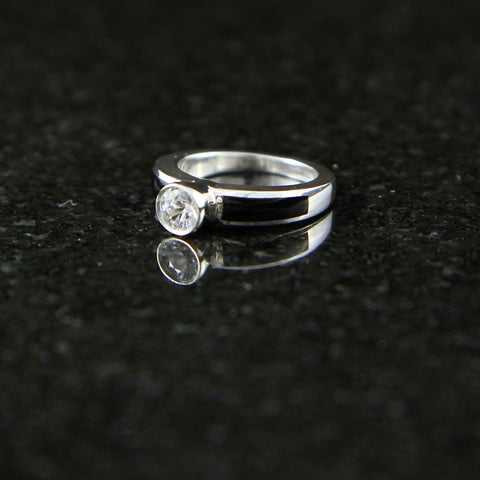 Sapphire Solitaire Ring with Onyx Inlay