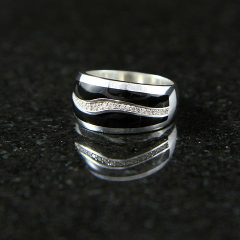Wave Ring with Black Onyx and Diamonds - Men's