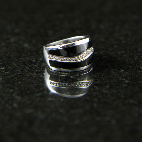 Wave Ring with Black Onyx and Diamonds
