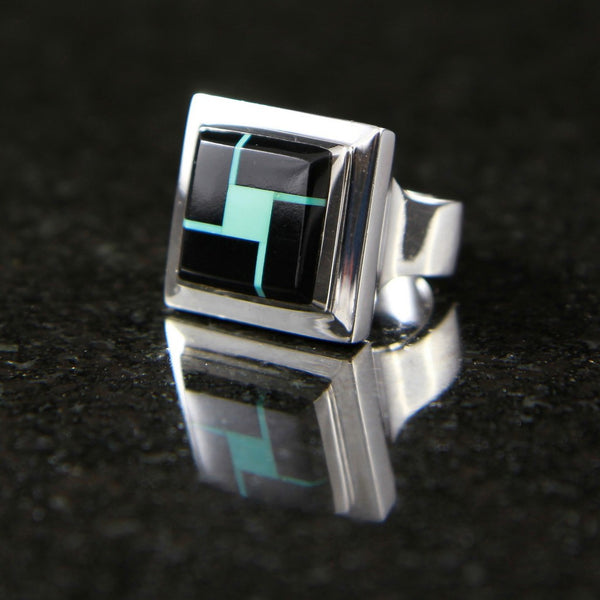 Alena Ring Mosaic Onyx and Turquoise