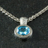 DeAcoma Triple Weave Oval Pendant with Blue Topaz