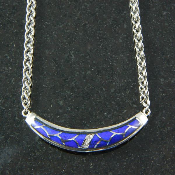 DeAcoma Crescent Convergence Necklace with Scalloped Inlay