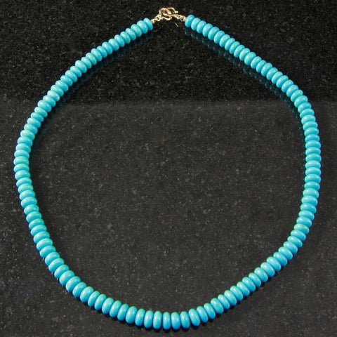 Beaded Natural Sleeping Beauty Turquoise Necklace