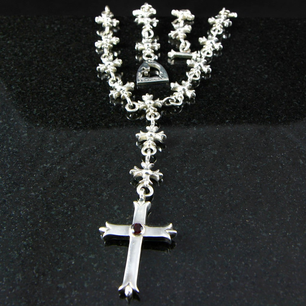 Templar rosary necklace with large budded cross pendant jl templar rosary necklace with large budded cross pendant aloadofball Image collections