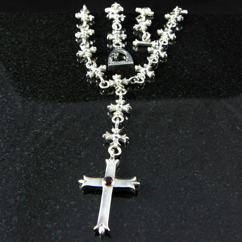 Templar Rosary Necklace with Large Budded Cross Pendant