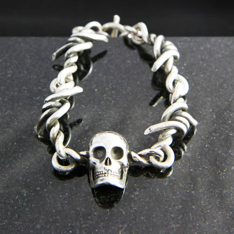Barbed Wire Link Bracelet with Skull