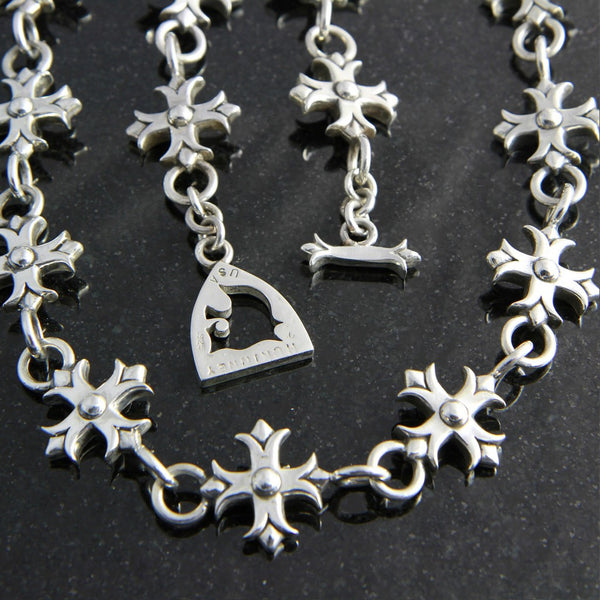 Templar Cross Necklace with Lion Logo Clasp