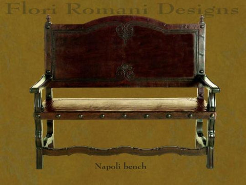 Spanish Revival Napoli Bench Tooled Saddle Leather in Los Angeles