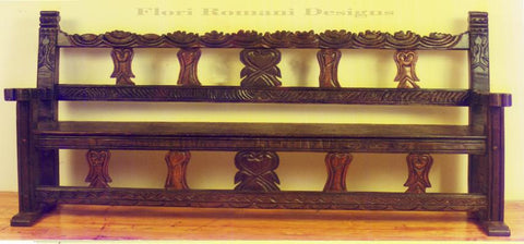 Spanish Revival bench handcarved solid wood in Los Angeles