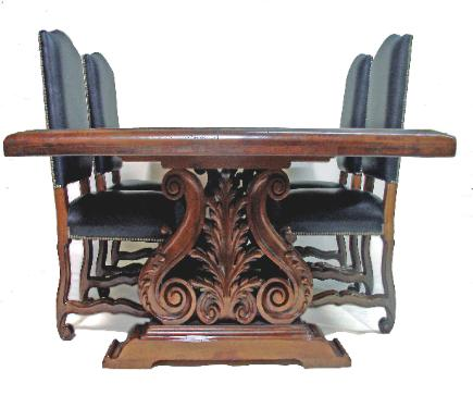 spanish revival furntiure and table hand carved wood