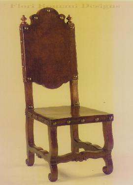 Spanish Revival Side Chair with saddle leather in Los Angeles