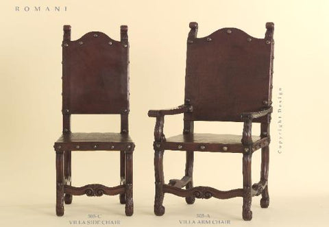 Spanish Revival Villa Chairs in Saddle Leather in Los Angeles