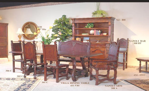 spanish revival dining tables with hand tooled leather bench and side chairs