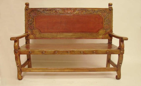 Spanish Revival Colonial Botanical bench hand-carved leather in Los Angeles