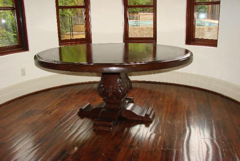 spanish revival style dining table set with tooled leather side chairs