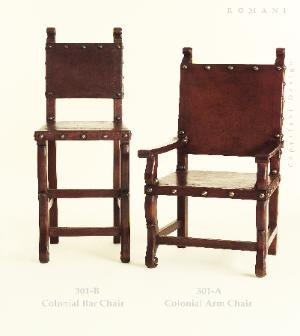 Spanish revival colonial saddle leather armchair and side chair