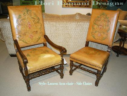 Spanish Revival Style carved leather armchair and side chair
