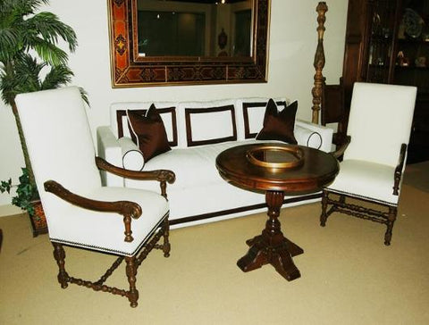 Spanish Revival Style Furniture White Linen Armchairs in Los Angeles