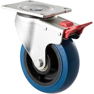 150mm Blue Rubber Swivel Plate Total Brake Castor