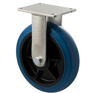 200mm Blue Rubber Fixed Plate Castor